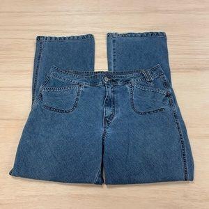 French cuff jeans size 12 women blue boyfriend